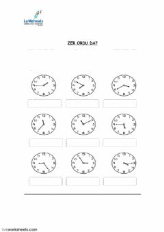 Interactive worksheet ORDUAK - EL RELOJ