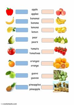Interactive worksheet fruit plurals