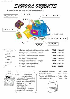 Interactive worksheet School objects and articles