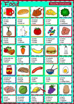 Interactive worksheet Food - multiple choice