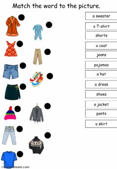 Interactive worksheet There is There are Clothes