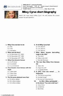 Interactive worksheet Miley Cirus short biography listening