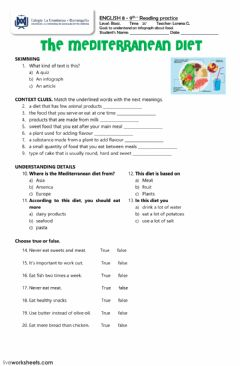 Interactive worksheet reading: the mediterranean diet