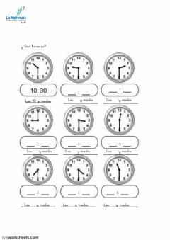 Interactive worksheet horas 2º2