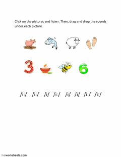 Interactive worksheet Drag and drop the sounds
