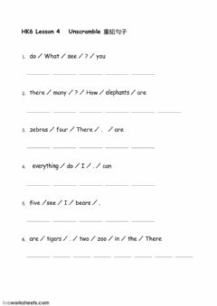 Interactive worksheet HK6 L4 there are