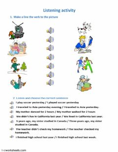 Interactive worksheet action verbs