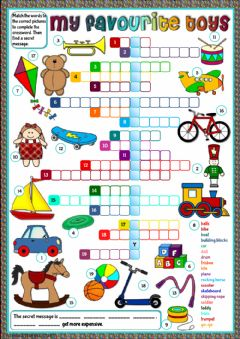 Interactive worksheet My favourite toys - crossword
