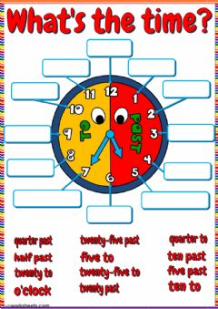 Interactive worksheet What's the time - drag and drop