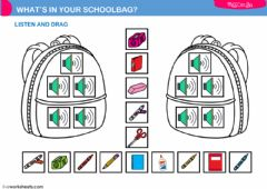 Interactive worksheet what's in my schoolbag?