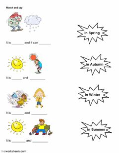 Interactive worksheet the seasons match and say