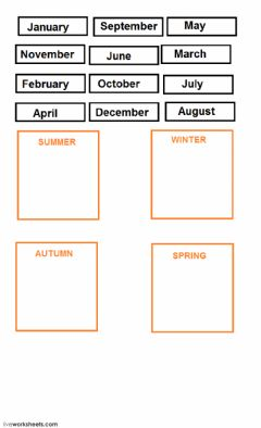 Interactive worksheet the seasons drag and drop