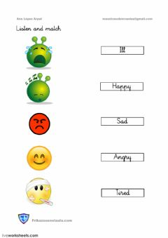 Interactive worksheet Feelings listen and match