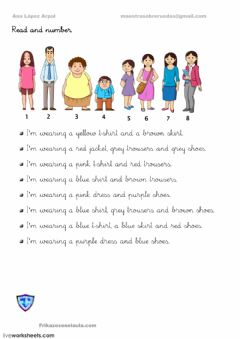 Interactive worksheet Clothes read and number