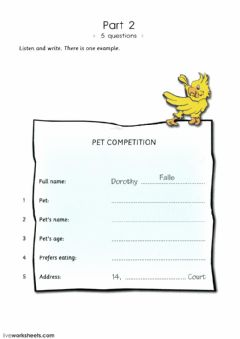 Interactive worksheet Flyers1 Unit 2 P2