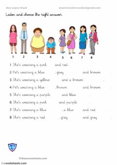 Interactive worksheet clothes read and choose