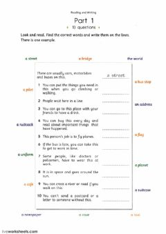 Reading and Writing: Vocabulary worksheet preview