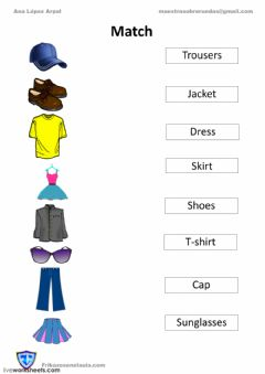Interactive worksheet Match clothes