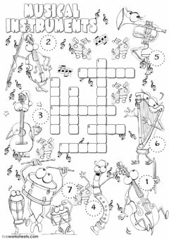 Musical instruments worksheet preview