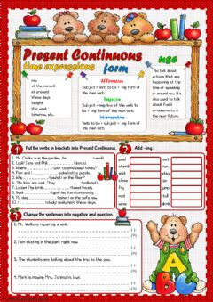 Present Continuous - grammar guide and practice worksheet preview