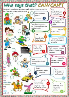 Interactive worksheet Who says that? - can or can't