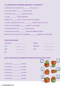 Interactive worksheet Possessive adjectives-prepositions of place