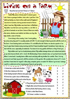 Living on a farm worksheet preview