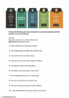 Interactive worksheet Wh questions and the simple past