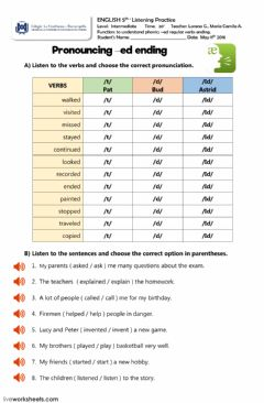 Interactive worksheet Pronunciation regular verbs -ed ending
