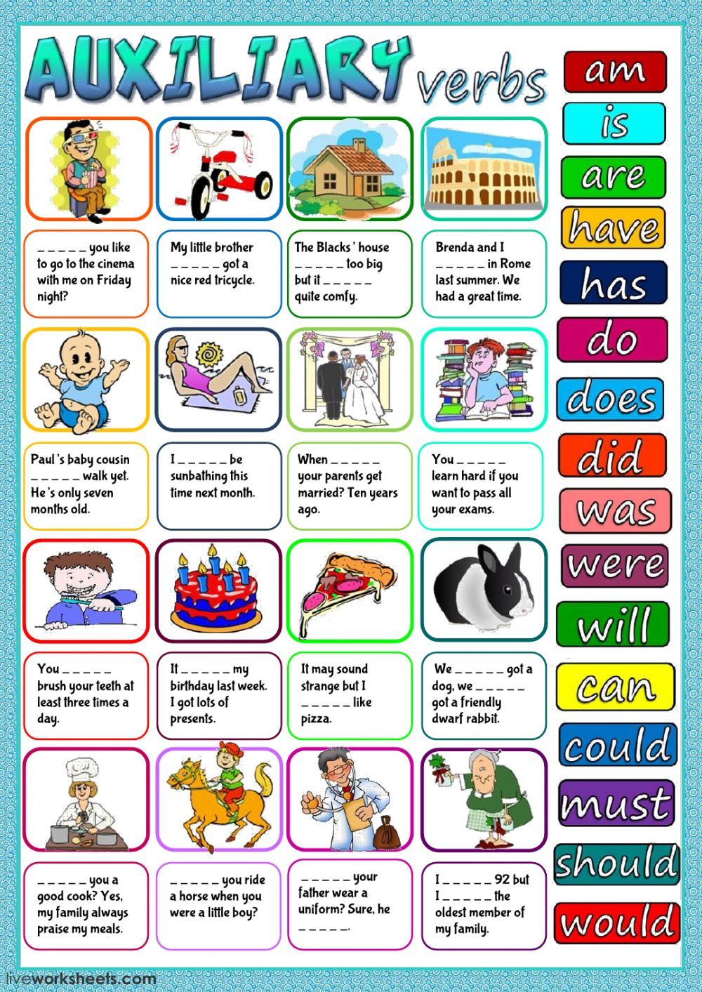 Auxiliary verbs Interactive worksheet