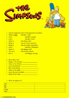 Comparative-Superlative with the Simpsons worksheet preview