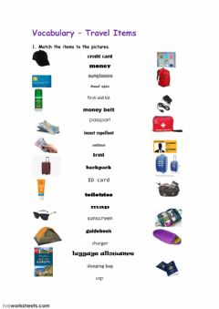 Interactive worksheet Travel Items 1