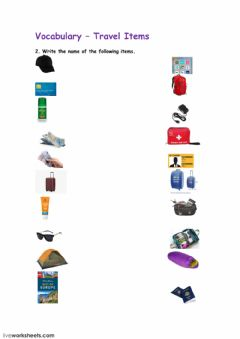 Ficha interactiva Travel Items 2
