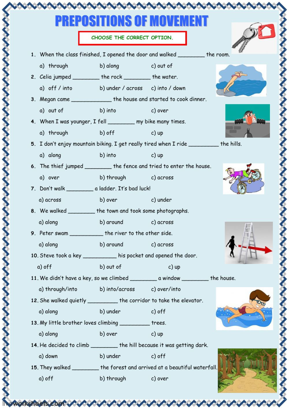 Prepositions Of Movement Interactive Worksheet
