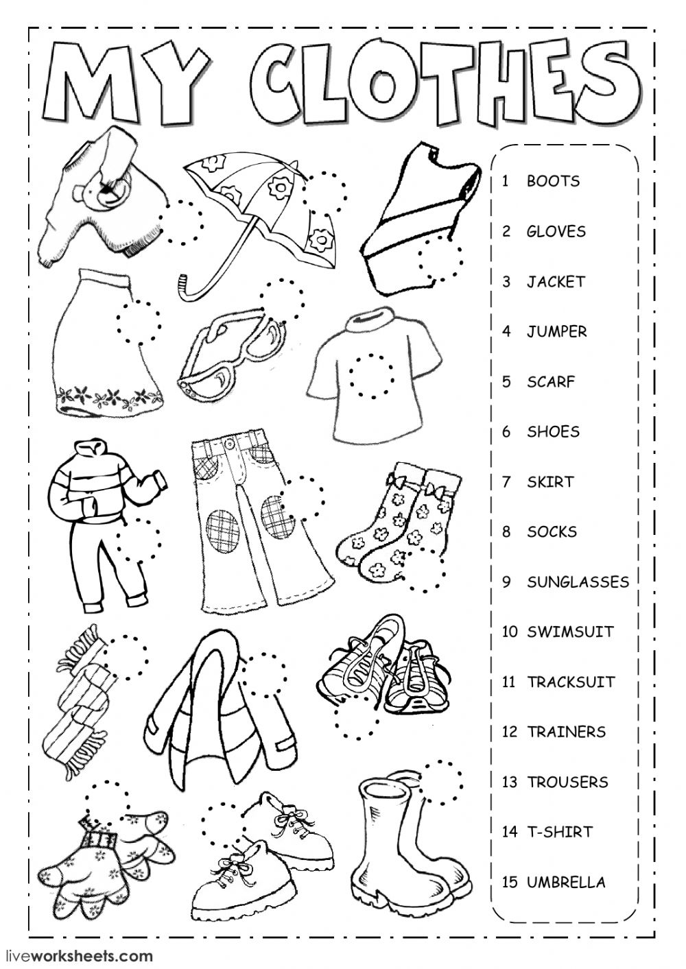 The Clothes Interactive Worksheet