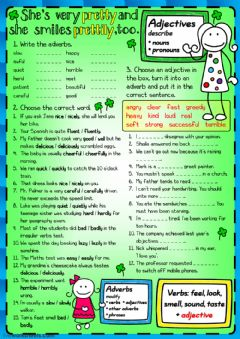 Interactive worksheet She's pretty and she smiles prettily, too - adjectives and adverbs