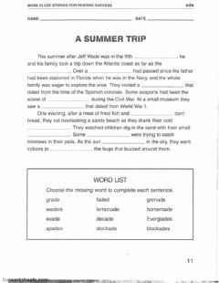 Interactive worksheet Cloze- Summer Trip--ade