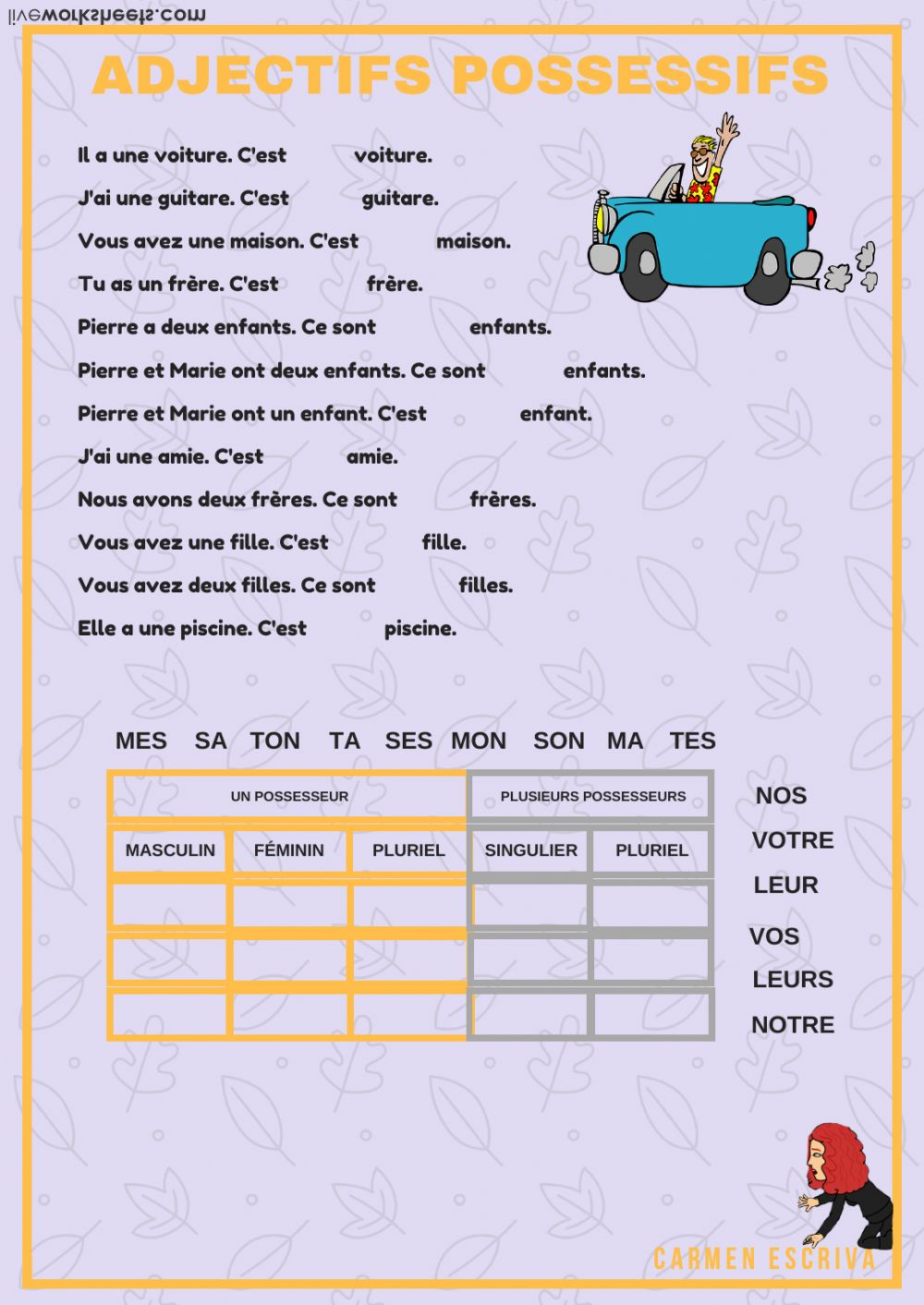 Les adjectifs possessifs: Adjectifs possessifs worksheet