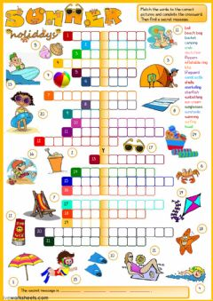 Ficha interactiva Summer holidays - crossword