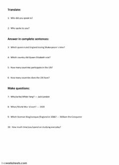 Interactive worksheet Subject questions