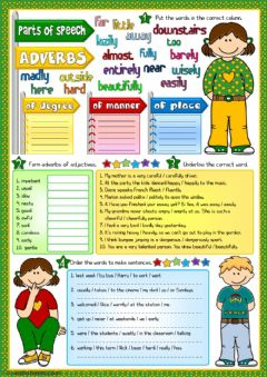 Interactive worksheet Parts of speech - adverbs