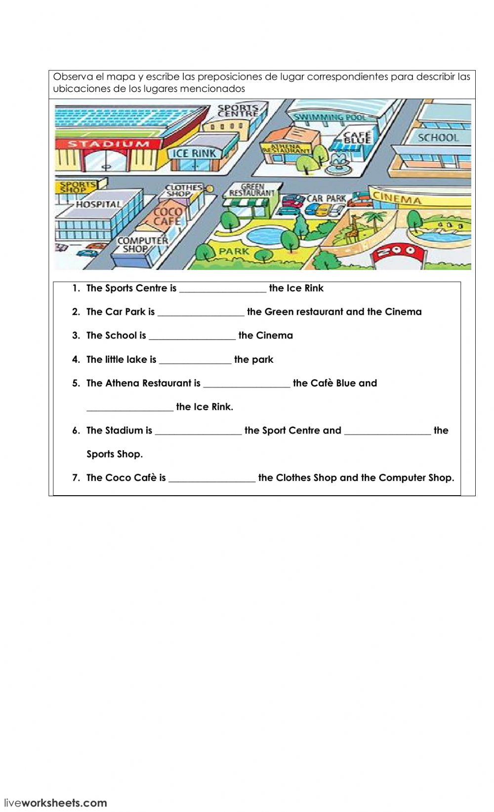 Preposition of place on a map worksheet