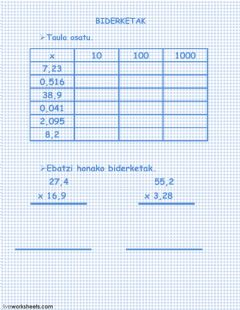 Interactive worksheet biderketak