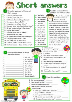Short answers worksheet preview