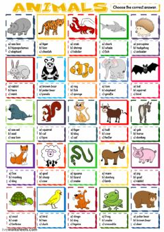 Interactive worksheet Animals - multiple choice