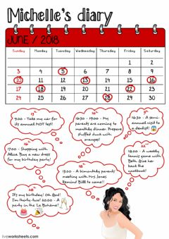 Interactive worksheet Michelle's diary