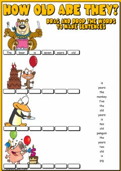 How old are they? - Make sentences worksheet preview