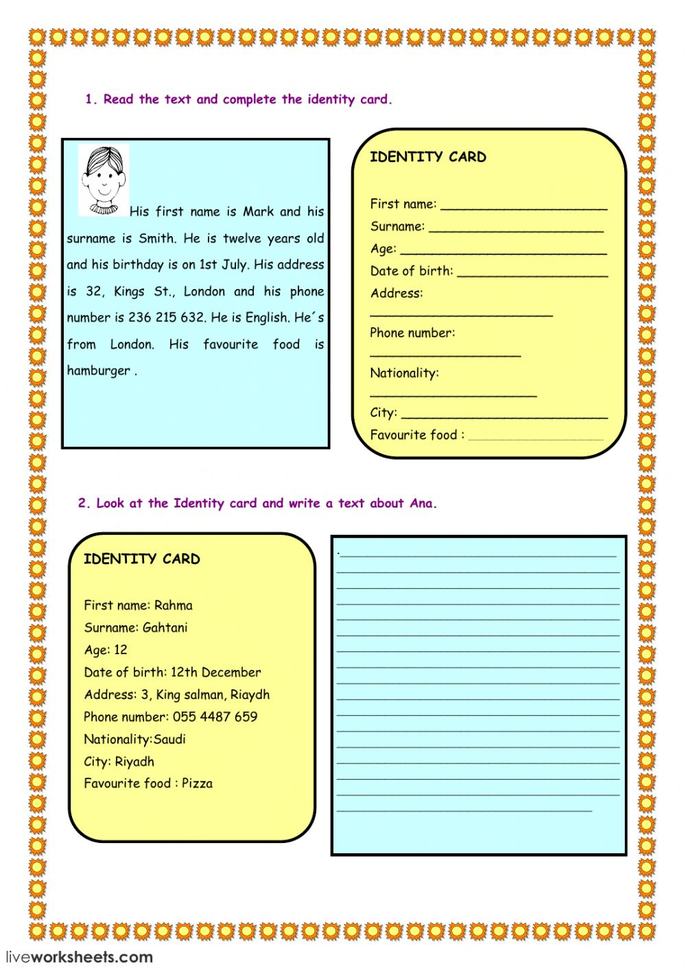 complete the ID card - Interactive worksheet
