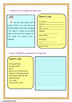 Interactive worksheet complete the ID card