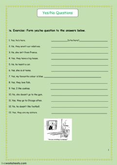 Interactive worksheet Yes-No questions